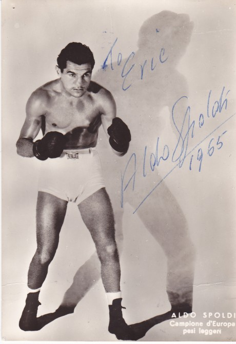 ALDO SPOLD1 EUROPEAN CHAMPION 139 FIGHTS INSCRIBED SIGNATURE 2 POST CARD