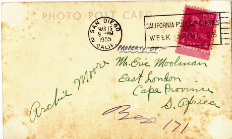ARCHIE MOORE BACK OF POST CARD