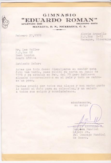 Alexis Arguello letter