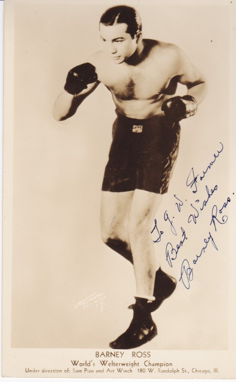 BARNEY ROSS INSCRIBED AUTOGRAPH 1