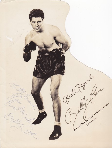 BILLY CONN INSCRIBED TO LES SIGNATURE 1