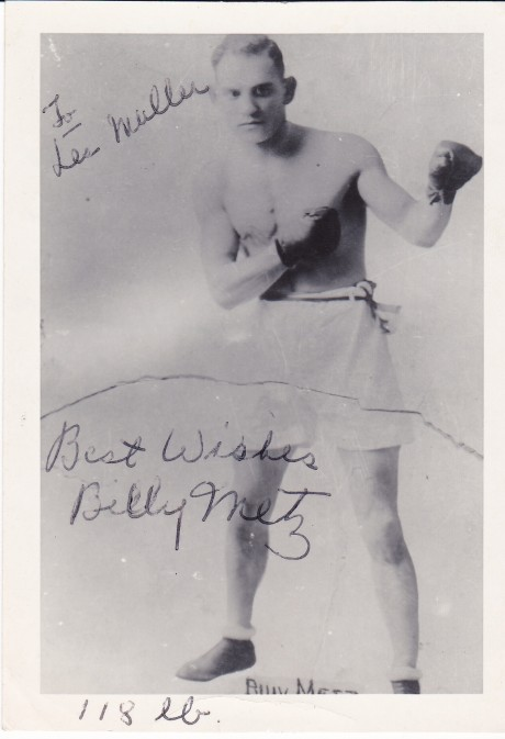 BILLY METZ 1921 INSCRBED SIGNATURE
