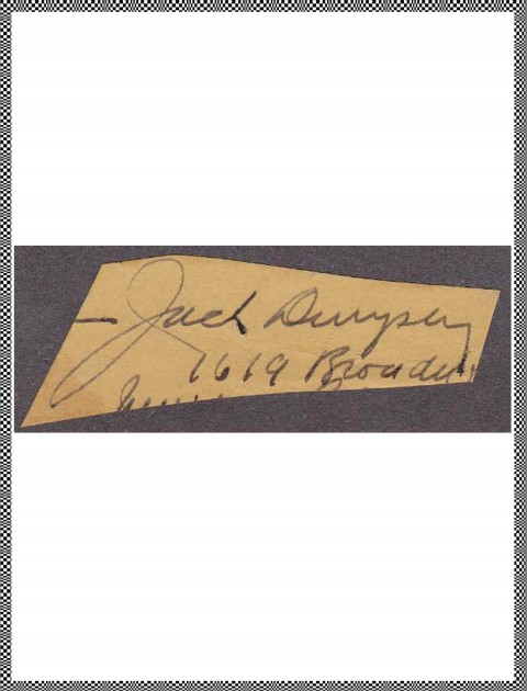 Jack Dempsey cut signature - African Ring