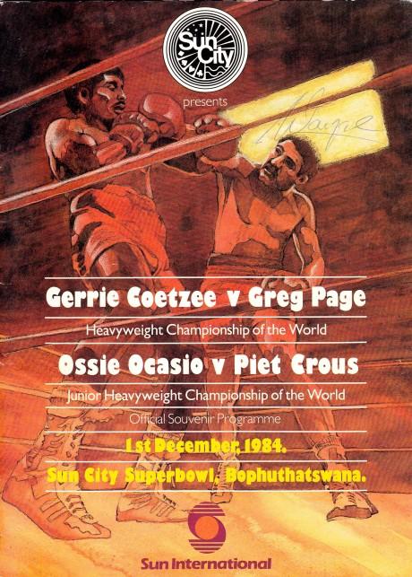11. GERRIE COETZEE VS GREG PAGE PROGRAM 1-12-1984