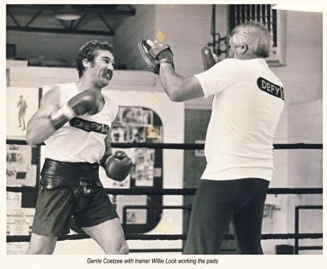 9. Gerrie Coetzee hitting the pads with Willie Lock