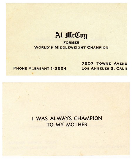 AL McCOY CALLING CARD FRONT AND BACK