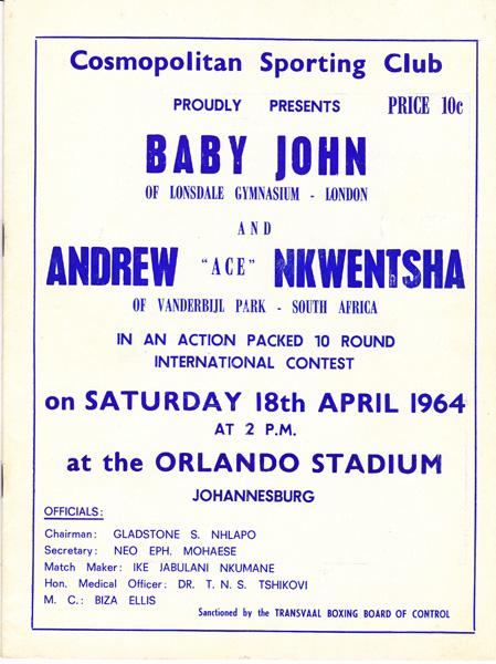 BABY JOHN VS ANDREW NKWENSHA 18-4-1964