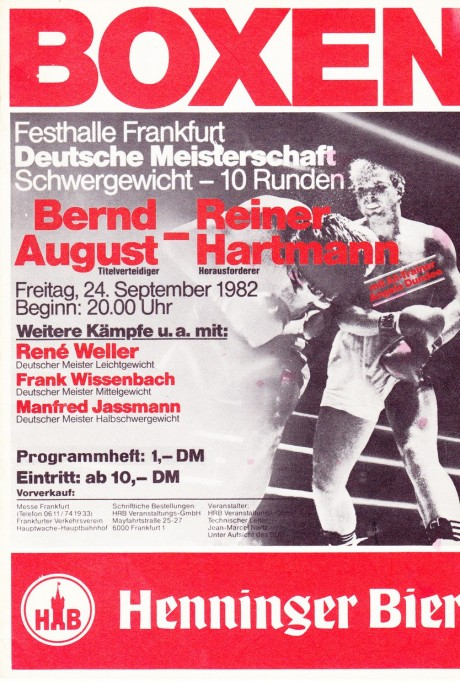 BERNARD AUGUST VS REINER HARTMAN PROGRAM