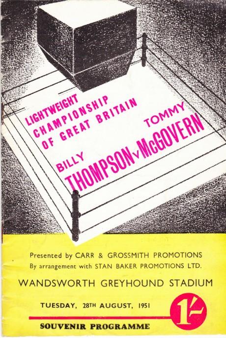 BILLY THOMSON V TOMMY McGOVERN 1951 PROGRAM