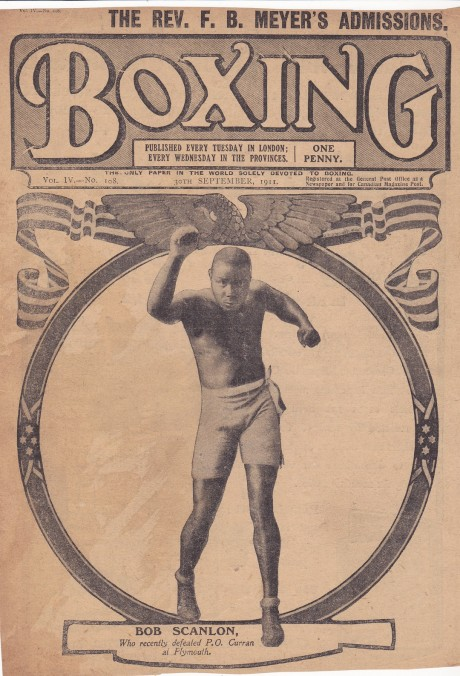 BOXING 30 SEPTEMBER 1911 PAPER COVER ONLY