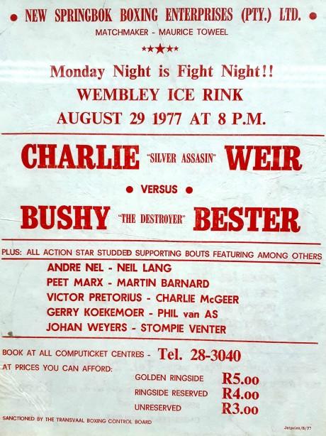 Bushy Bester vs Charlie Weir poster