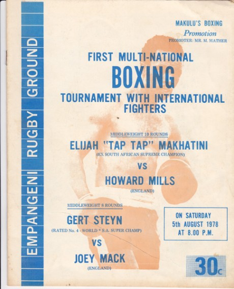 ELIJAH MAKHATINI VS HOWARD MILLS – GERT STEYN VS JOE MACK 5-10-1978
