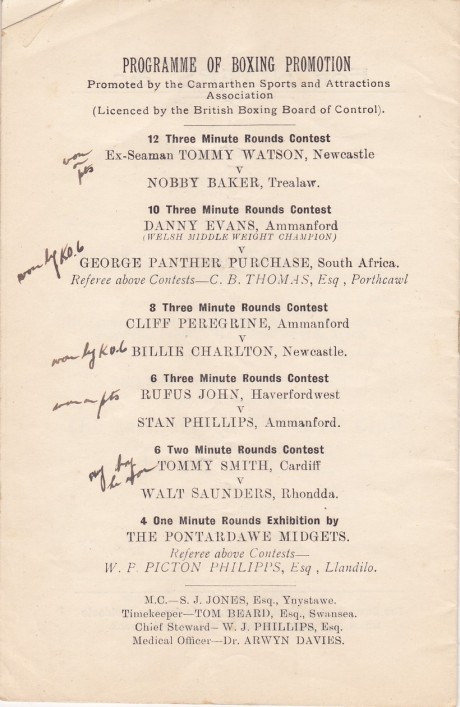 EX-SEAMAN TOMMY WATSON V NOBBY BAKER 1935 BOUT CARD