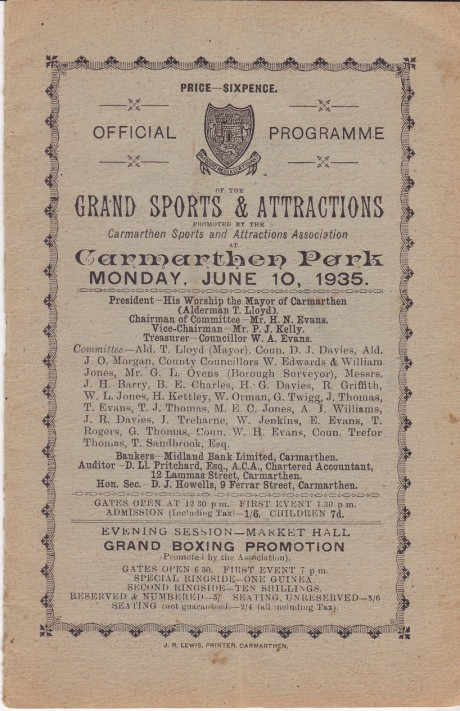 EX-SEAMAN TOMMY WATSON V NOBBY BAKER 1935 BOUT CARD COVER