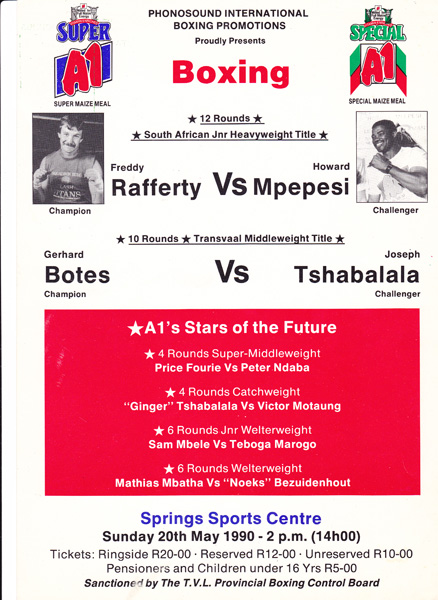 FREDDY RAFFERTY VS HOWARD MPEPSI 24-5-1990