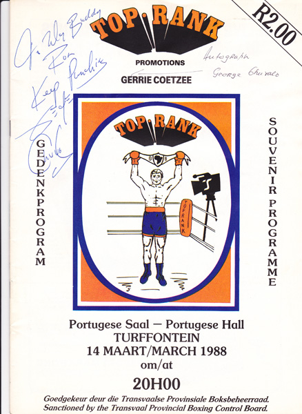 GERRIE COETZEE PROMOTIONS 14-3-1988