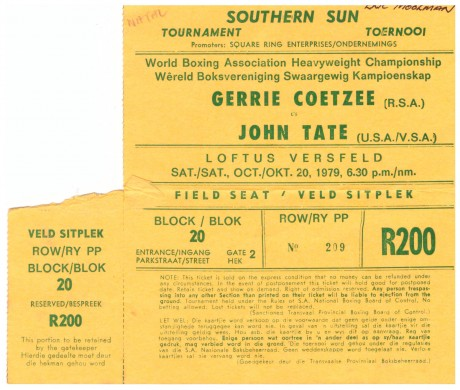 Gerrie Coetzee vs John Tate ticket