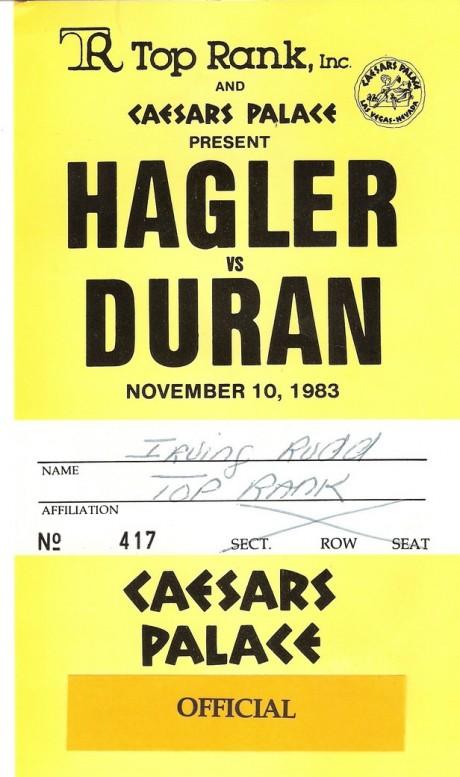 HAGLER VS DURAN  -IRVIN RUDD PASS