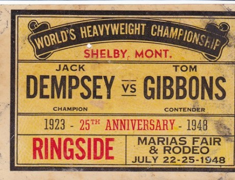 JACK DEMPSEY VS TOM GIBBINS 25 ANNIVERSARY STICKER