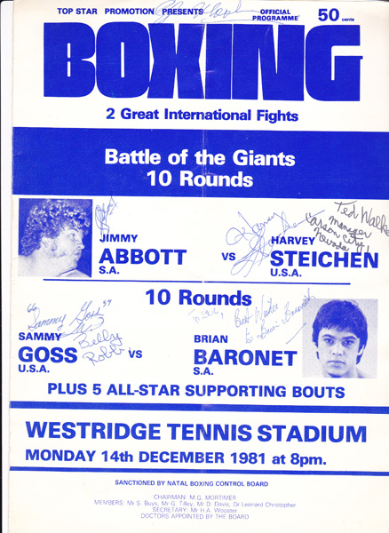 JIMMY ABBOTT VS HARVEY STEICHEN AND SAMMY GOSS VS BRIAN BARONET 14-12-1981