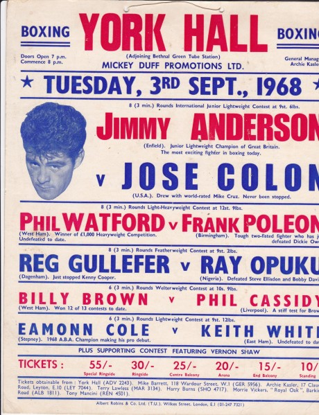 JIMMY ANDERSON VS JOSE COLON POSTER