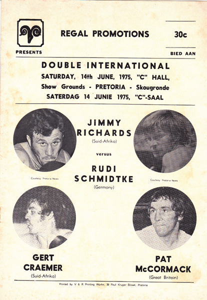 JIMMY RICHARDS VS RUDI  SCHMIDTKE & PAT McCORMACK VS GERT CRAEMER 14-6-1974