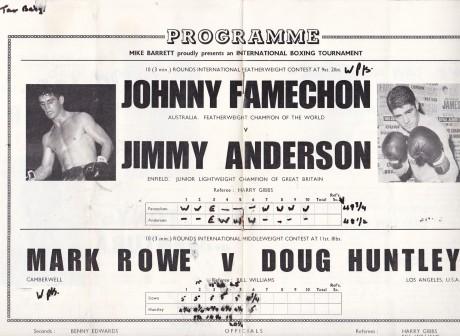 JOHNNY FAMECHON VS JIMMY ANDERSON PROGRAM CENTRE