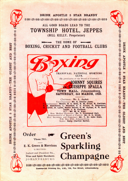JOHNNY SQUIRES VS GUISEPPE SPALLA 3-3-1928 COVER