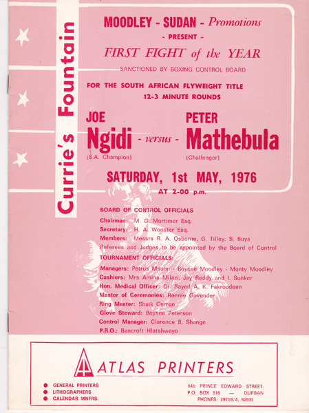 Joe Ngidi vs Peter Mathebula  1st May 1976