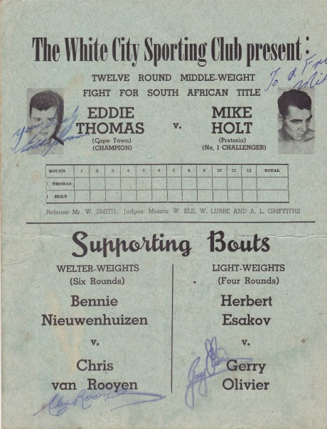 MIKE HOLT VS EDDIE THOMAS PROGRAM AUTOGRAPHED