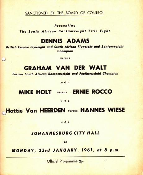 MIKE HOLT VS ERNIE ROCCO PROGRAM 23-1-1961