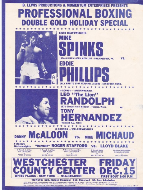 MIKE SPINKS VS EDDIE PHILLIPS A4 POSTER