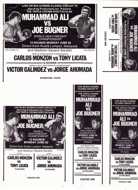 MUHAMMAD ALI VS JOE BUGNER EXHIBIT SHEET
