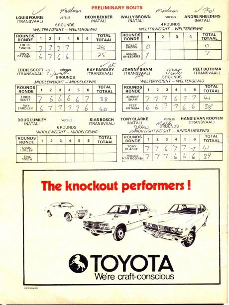 Mike Schutte vs Gerrie Coetzee 1976 under card