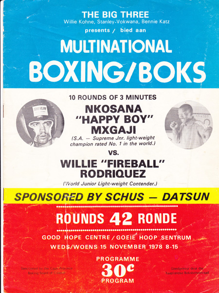 NKOSANA HAPPY BOY MXGAJI VS WILLIE RODRIQUEZ 15-11-1978