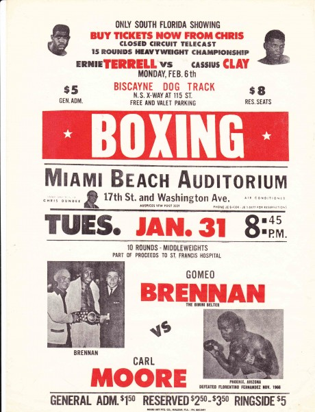 POSTER ADVERTISING ERNIE TERRELL VS CASSIUS CLAY