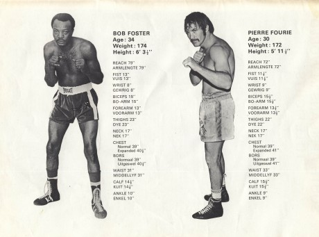 Pierre Fourie vs Bob Foster Tale of the Tape 1973
