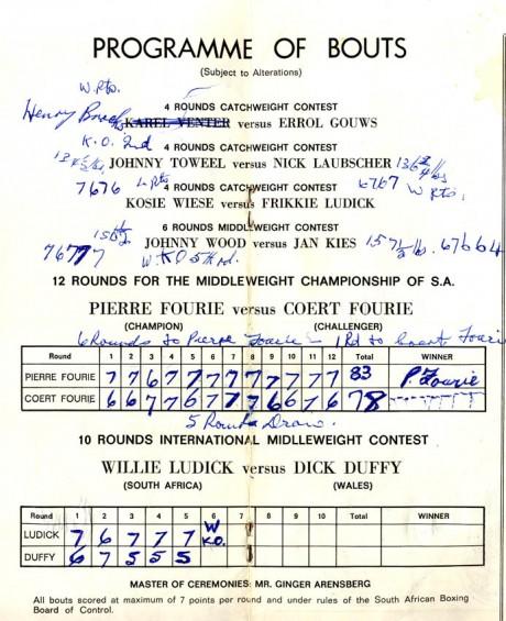 Pierre Fourie vs Coert Fourie under card 1969