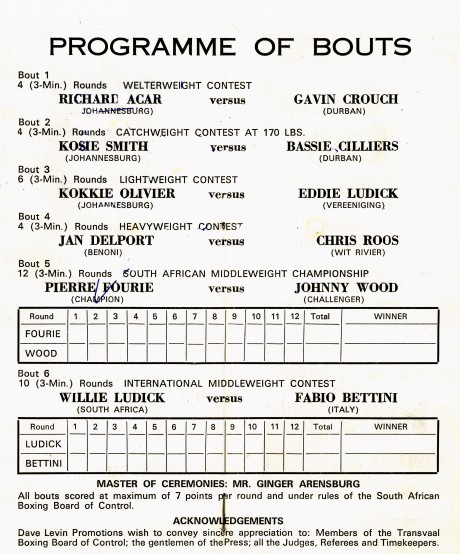 Pierre Fourie vs Johnny Wood + Willie Ludick vs Fabio Bettini 1969 score card