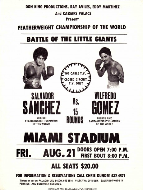 SALVADOR SANCHEZ VS WILFRED GOMEZ POSTER FLYER