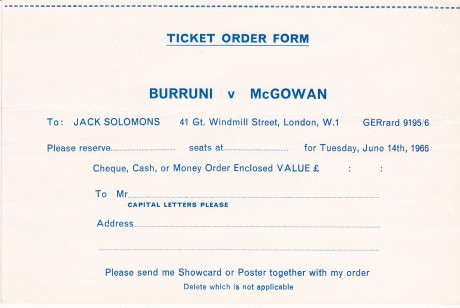 SALVATORE BURRUNI VS WALTER McGOWAN TICKET ORDER  FORM