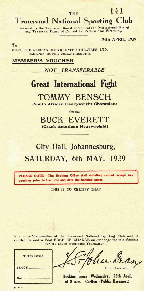 TOMMY BENSCH V BUCK EVERETT