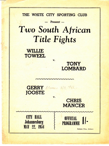 TOWEEL WILLIE VS TONY LOMBARD