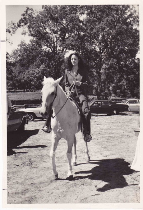 VERONICA ALI RIDING HER HORSE