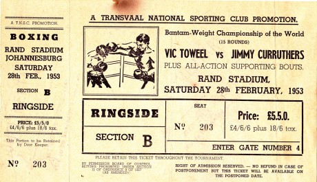 VIC TOWEEL V JIMMY CURRUTHERS 1953