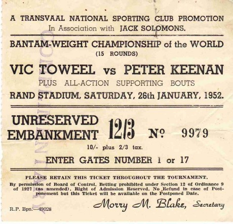 VIC TOWEEL V PETER KEENEN 1952