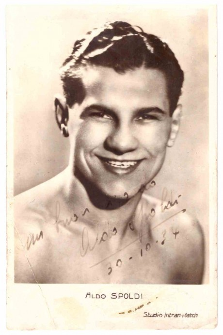 Aldo Spoldi Vintage signed 1934 fought Laurie Stevens in SA