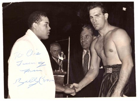 Billy Conn to Chris shacking hands with Joe Louis