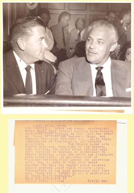 Buddy Baer (L) talks to Fred Hartman (R) Front & Back Libel Trial