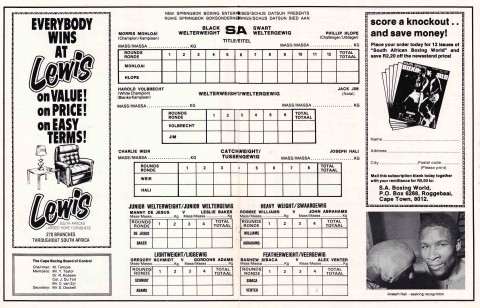 Charlie Weir vs Joseph Hali score card - African Ring